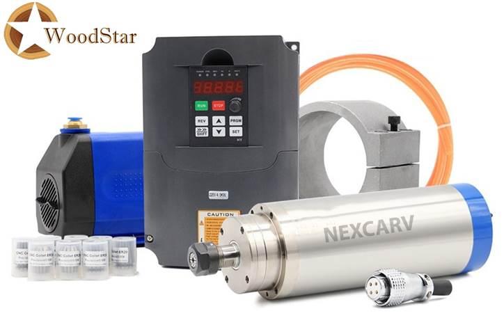 3.0kw ER20 water cooled spindle, VFD, water pump, spindle collets (1)