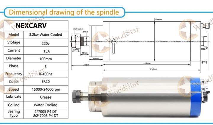 3.0kw ER20 water cooled spindle, VFD, water pump, spindle collets (4)