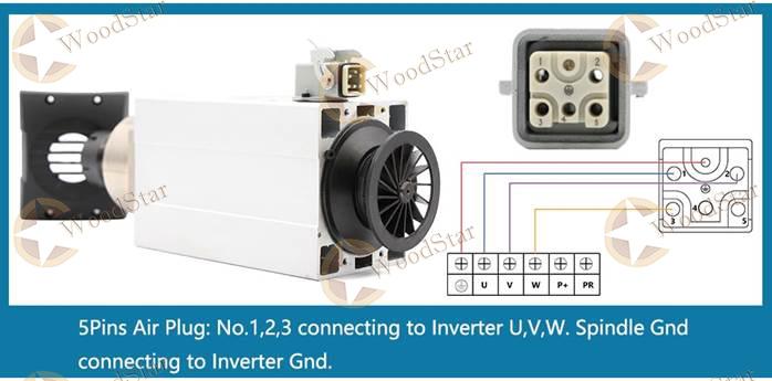4.5kw HQD NEXCARV ER32 Air Cooled Spindle Motor